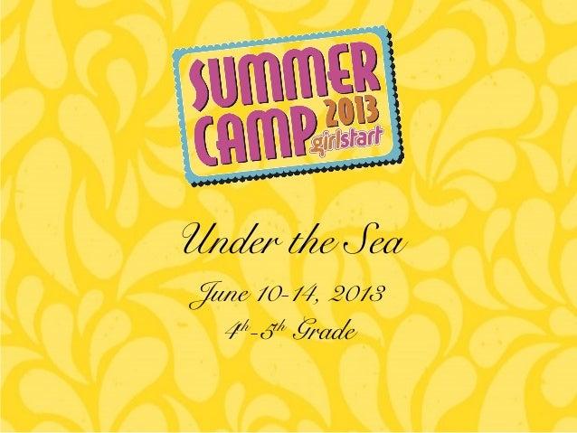 June 10-14, 2013 4th -5th Grade Under the Sea