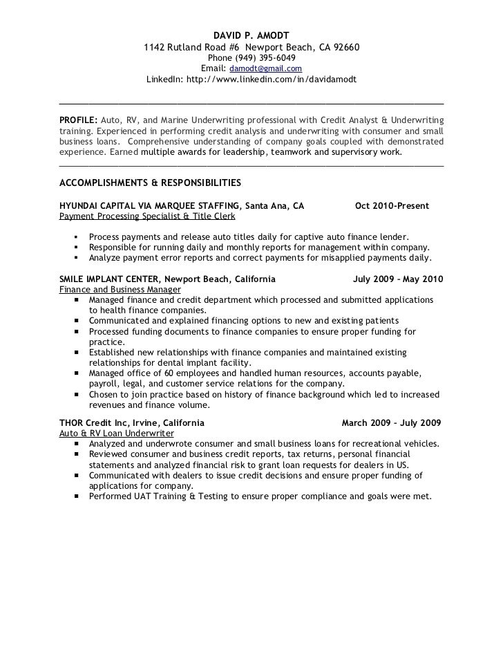 underwriting credit analyst resume david p amodt 1142 rutland road 6 newport beach - Underwriter Resume Sample