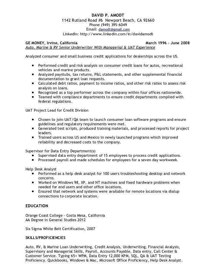 underwriting  u0026 credit analyst resume