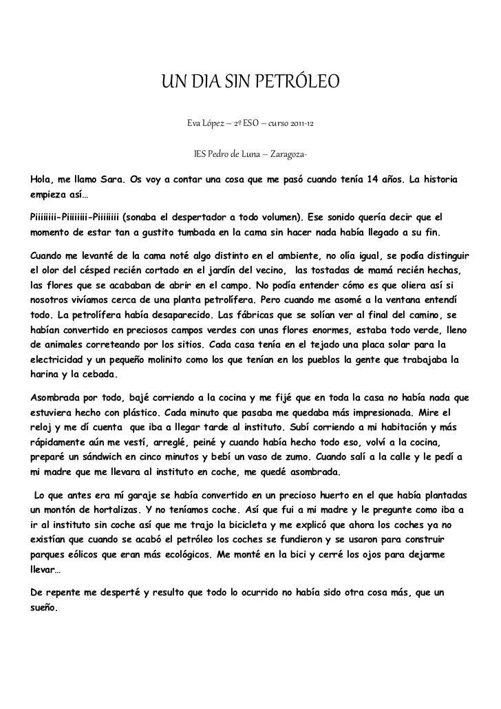 UN DIA SIN PETRÓLEO                                      Eva López – 2º ESO – curso 2011-12                               ...