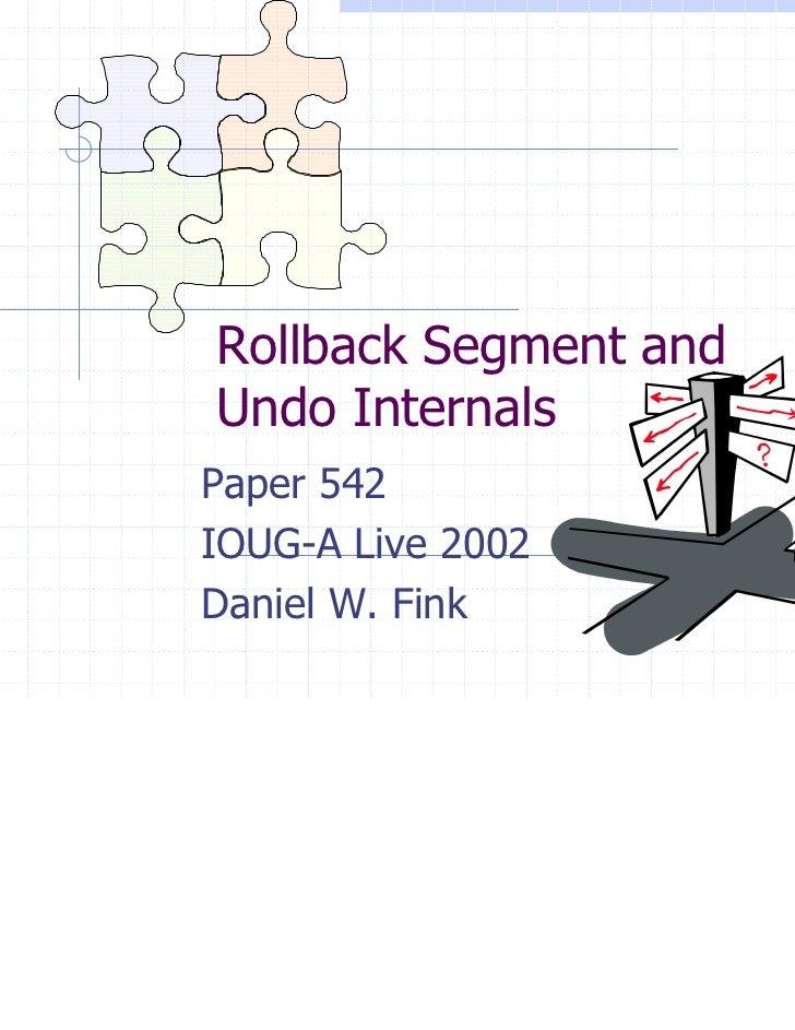 Rollback Segment andUndo InternalsPaper 542IOUG-A Live 2002Daniel W. Fink