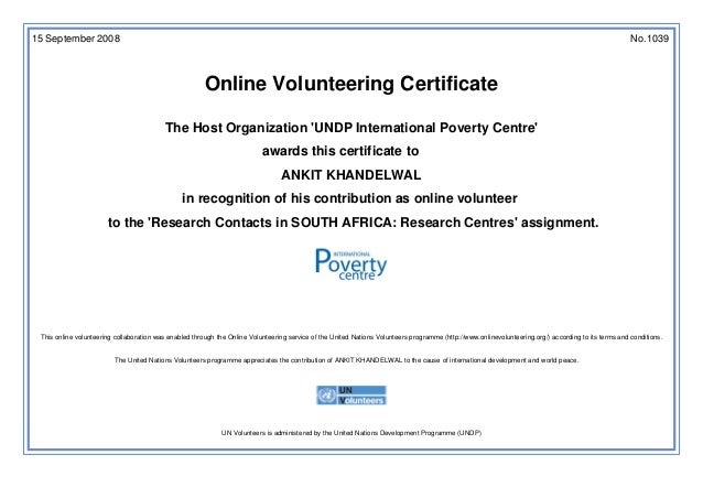 United Nations Online Volunteering Certificate