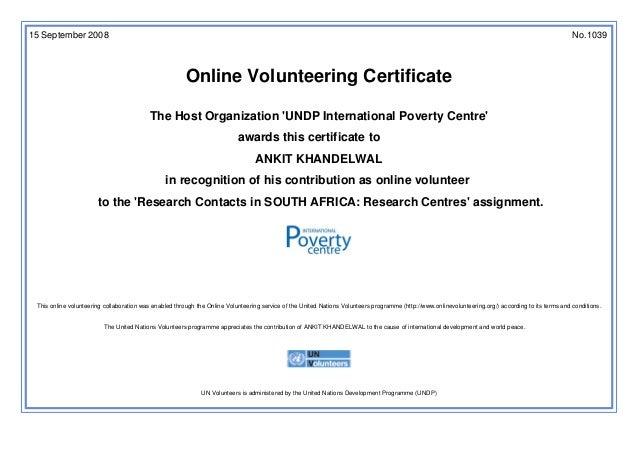 United nations online volunteering certificate 15 september 2008 no1039 online volunteering certificate the host organization undp international poverty yadclub Images