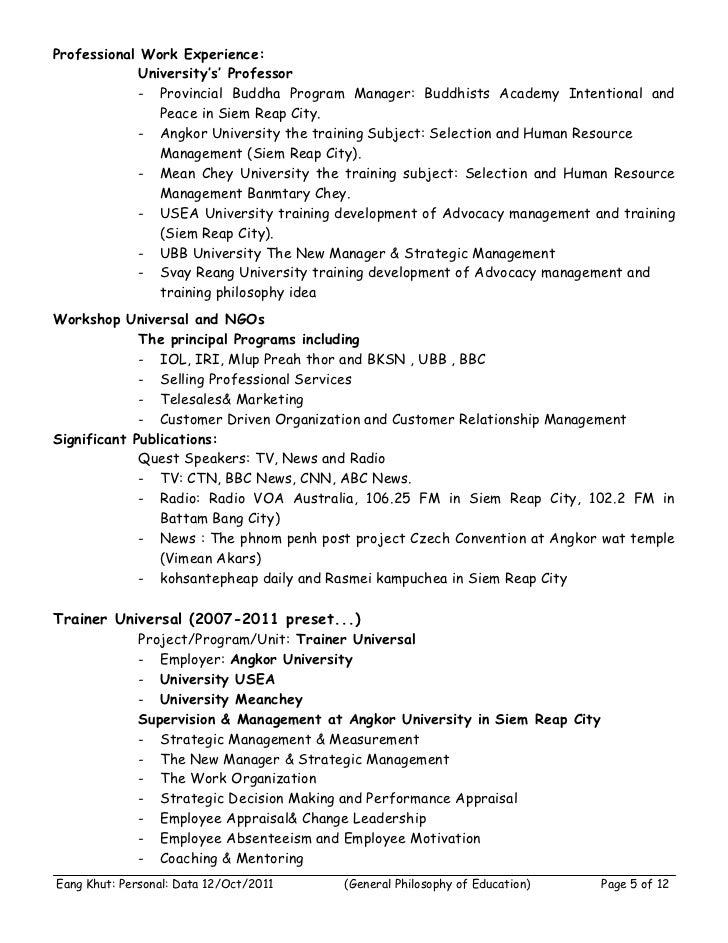 Professional Work Experience:             University's' Professor             - Provincial Buddha Program Manager: Buddhis...