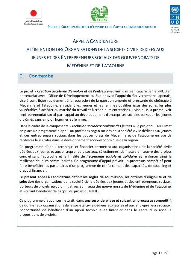 PROJET « CREATION ACCELEREE D'EMPLOIS ET DE L'APPUI A L'ENTREPRENEURIAT »  Page 1 sur 8  APPEL A CANDIDATURE  A L'INTENTIO...