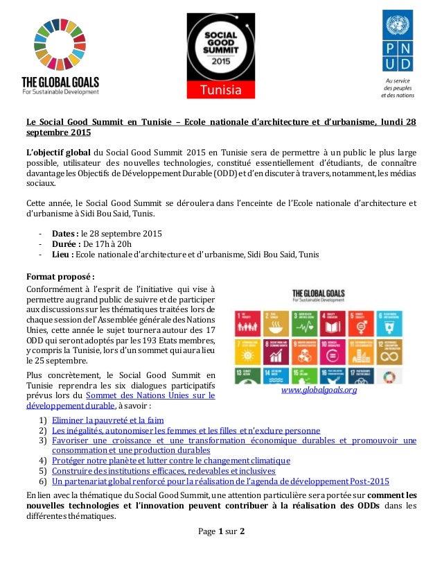 Page 1 sur 2 Le Social Good Summit en Tunisie – Ecole nationale d'architecture et d'urbanisme, lundi 28 septembre 2015 L'o...