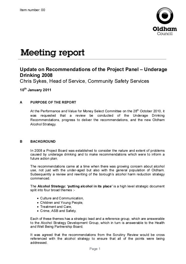 Page 1Item number: 00Update on Recommendations of the Project Panel – UnderageDrinking 2008Chris Sykes, Head of Service, C...