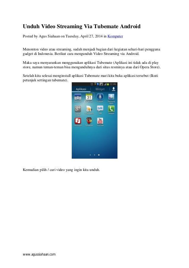 Unduh Video Streaming Via Tubemate Android