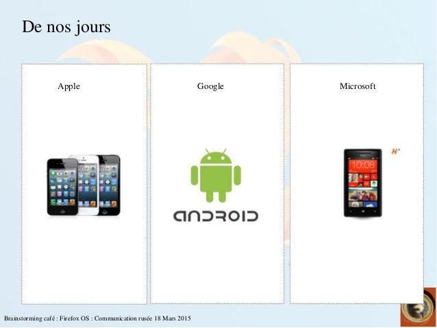 Brainstormingcafé:FirefoxOS:Communicationrusée18Mars2015 Denosjours  Apple Google Microsoft