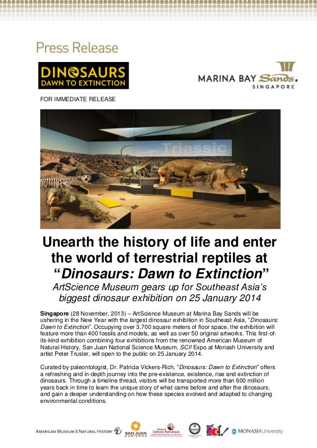 "FOR IMMEDIATE RELEASE  Unearth the history of life and enter the world of terrestrial reptiles at ""Dinosaurs: Dawn to Exti..."
