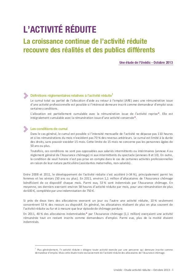 L'ACTIVITÉ RÉDUITE La croissance continue de l'activité réduite recouvre des réalités et des publics différents Une étude ...