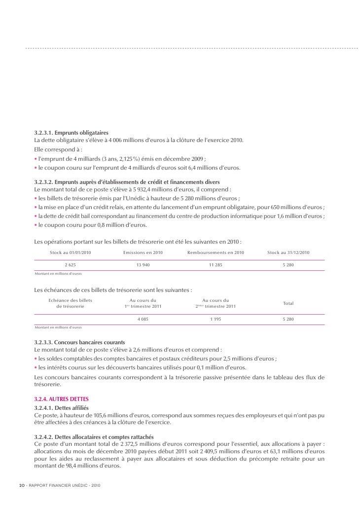 Un dic rapport financier 2010 for Precompte pole emploi