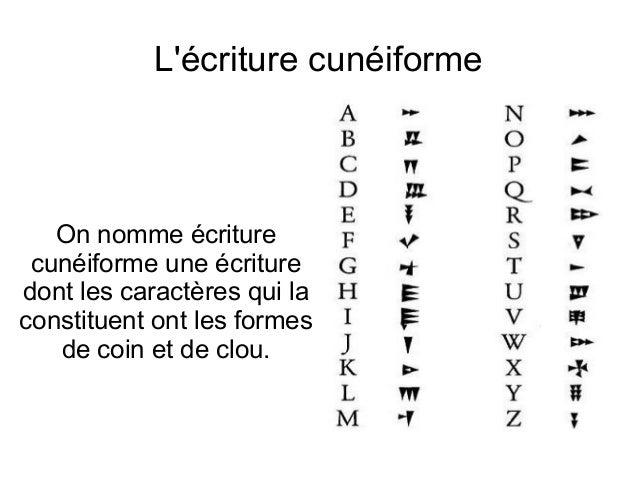 Lécriture cunéiforme   On nomme écriture cunéiforme une écrituredont les caractères qui laconstituent ont les formes   de ...