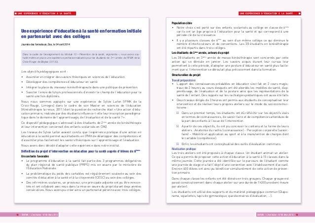 UNE EXPÉRIENCE D'ÉDUCATION À LA SANTÉ... UNE EXPÉRIENCE D'ÉDUCATION À LA SANTÉ... SNIFMK | L'Institulien - N°06 Mars 2015 ...