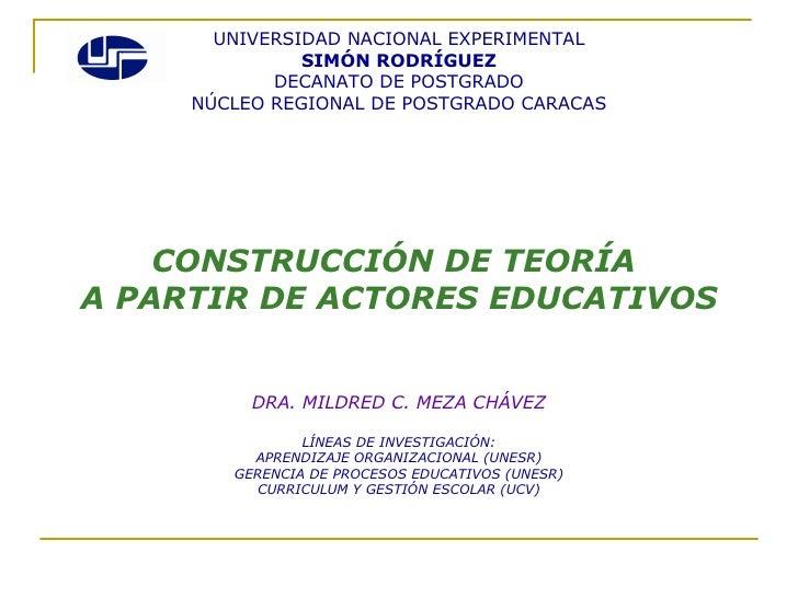 UNIVERSIDAD NACIONAL EXPERIMENTAL SIMÓN RODRÍGUEZ DECANATO DE POSTGRADO NÚCLEO REGIONAL DE POSTGRADO CARACAS <ul><li>CONST...