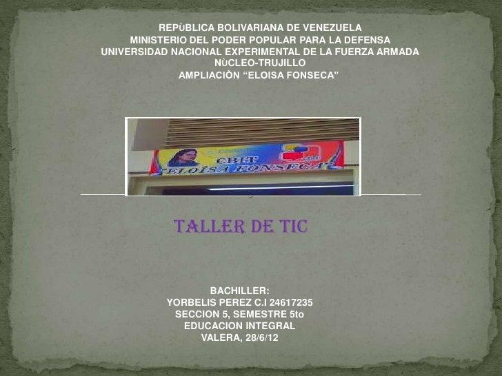 REPÙBLICA BOLIVARIANA DE VENEZUELA     MINISTERIO DEL PODER POPULAR PARA LA DEFENSAUNIVERSIDAD NACIONAL EXPERIMENTAL DE LA...