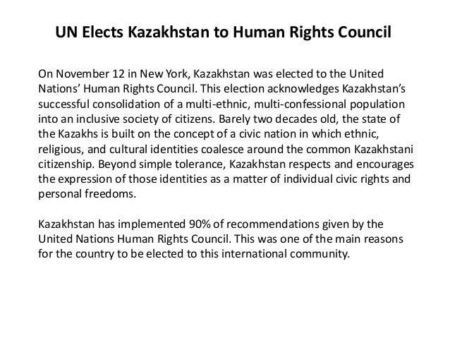 UN Elects Kazakhstan to Human Rights CouncilOn November 12 in New York, Kazakhstan was elected to the UnitedNations' Human...