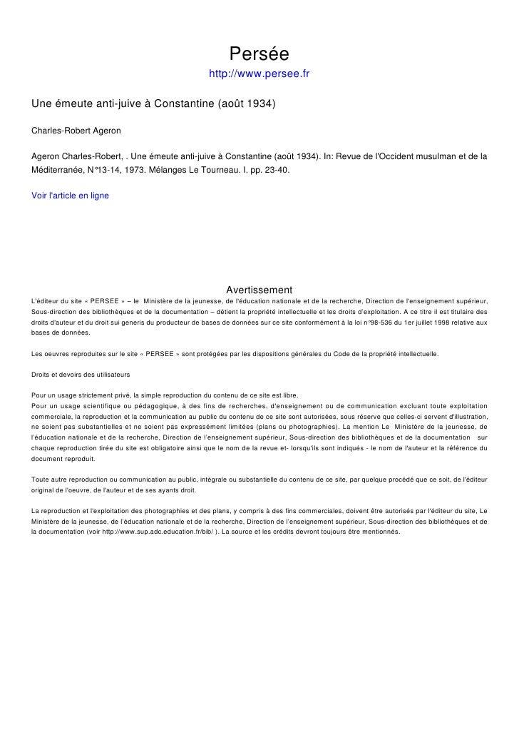 Persée                                                             http://www.persee.fr  Une émeute anti-juive à Constanti...