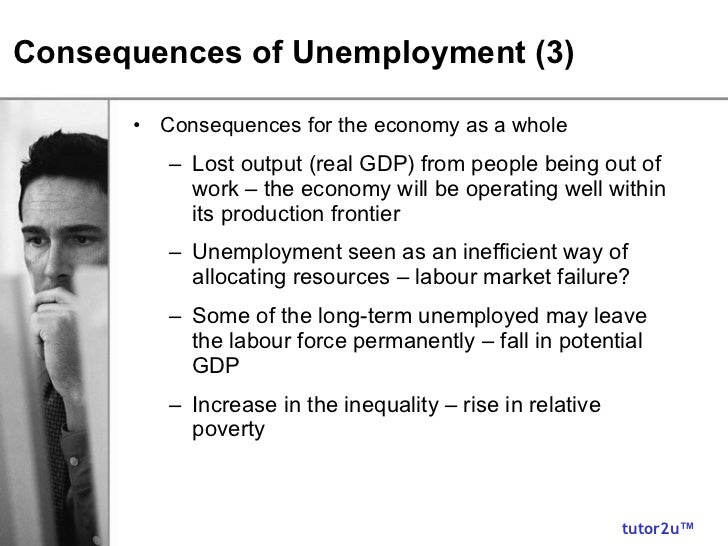 unemployment and its effect on the The trough is the bottom of the recession period, unemployment is at its highest, inflation is low  point d illustrates the effect of unemployment.