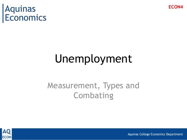 Aquinas College Economics DepartmentUnemploymentMeasurement, Types andCombatingECON4