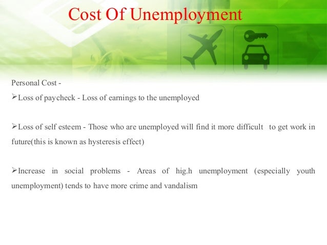 Cost Of Unemployment Personal Cost - Loss of paycheck - Loss of earnings to the unemployed Loss of self esteem - Those w...