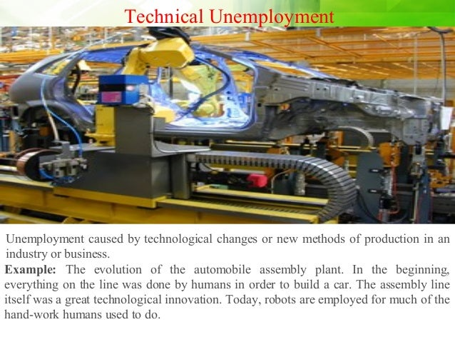Technical Unemployment Unemployment caused by technological changes or new methods of production in an industry or busines...