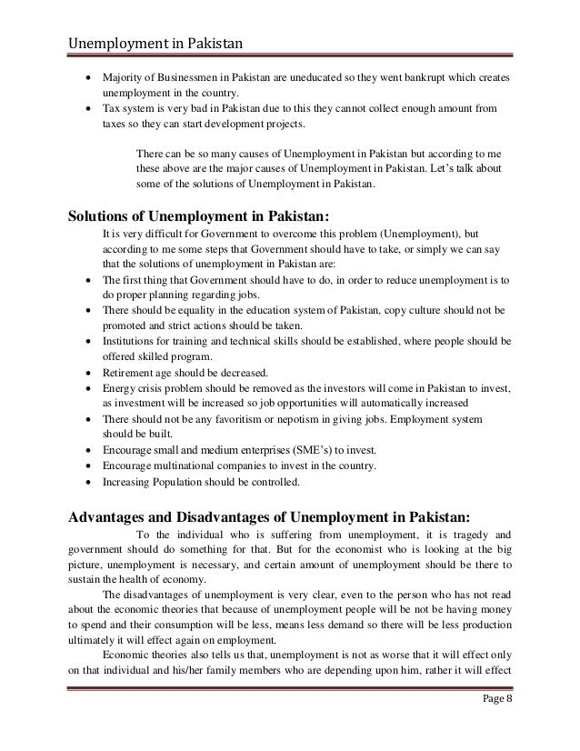 unemployment of pakistan The global employment trends report issued by the international labour organisation (ilo) projected that pakistan's unemployment rate — 517% in 2013 — is set to rise slightly increase and .