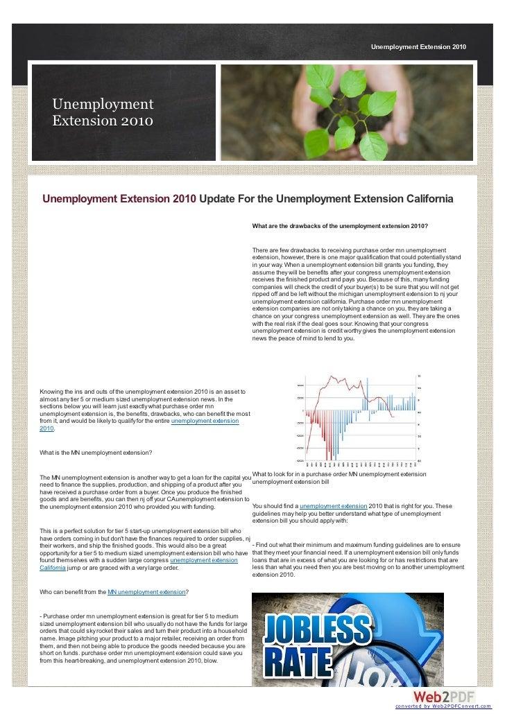 Unemployment Extension 2010    Unemployment    Extension 2010Unemployment Extension 2010 Update For the Unemployment Exten...