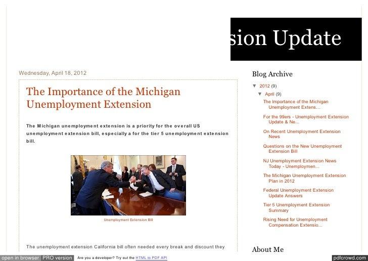 Unemployment Extension Update      Wednesday, April 18, 2012                                                              ...