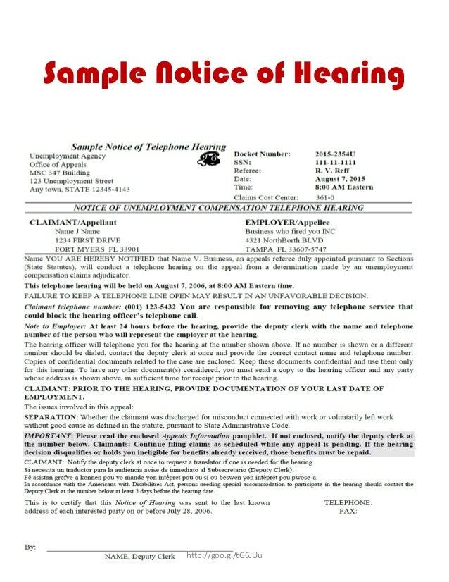 Unemployment hearing guide ebook sample notice of hearing httpgootg6juu spiritdancerdesigns Images