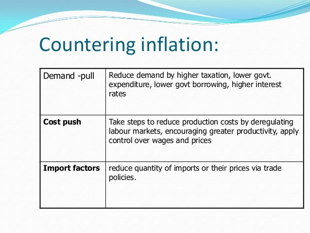 methods to control inflation Here are some of the measures that are taken by banks as well as goverment to control inflation.