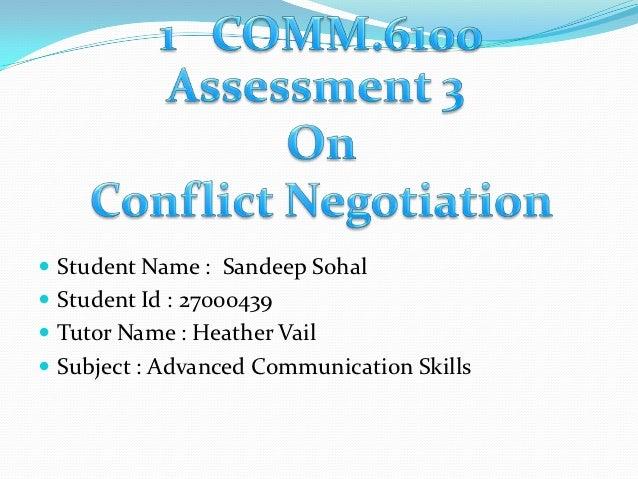  Student Name : Sandeep Sohal Student Id : 27000439 Tutor Name : Heather Vail Subject : Advanced Communication Skills