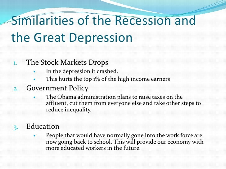 great recession and great depression The great depression versus the great recession in the us: how fiscal, monetary, and financial polices compare.