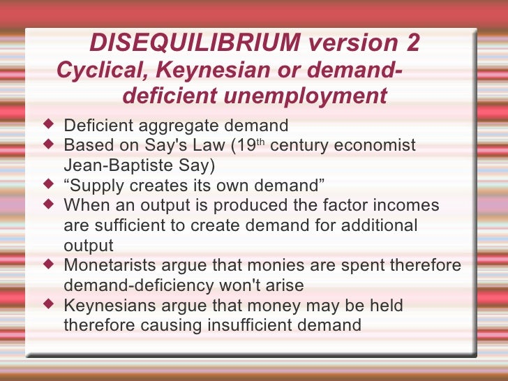 demand deficient unemployment Definition of demand deficient unemployment why it occurs diagrams to explain fall in ad graphs and examples from uk and us economies.