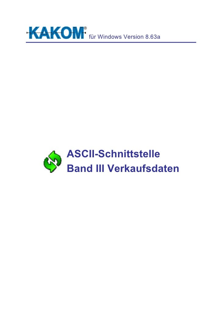 für Windows Version 8.63a     ASCII-Schnittstelle Band III Verkaufsdaten