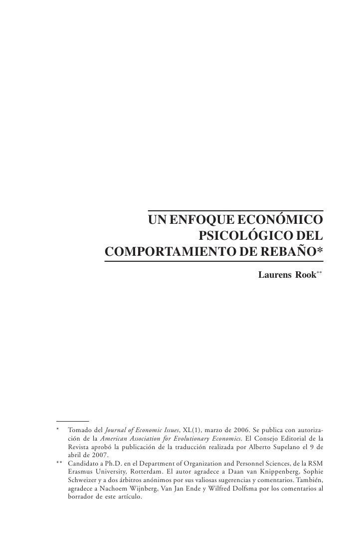 UN ENFOQUE ECONÓMICO                          PSICOLÓGICO DEL                COMPORTAMIENTO DE REBAÑO*                    ...