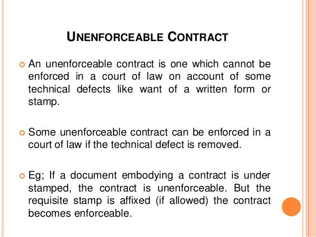 Unenforceable Illegal Contract
