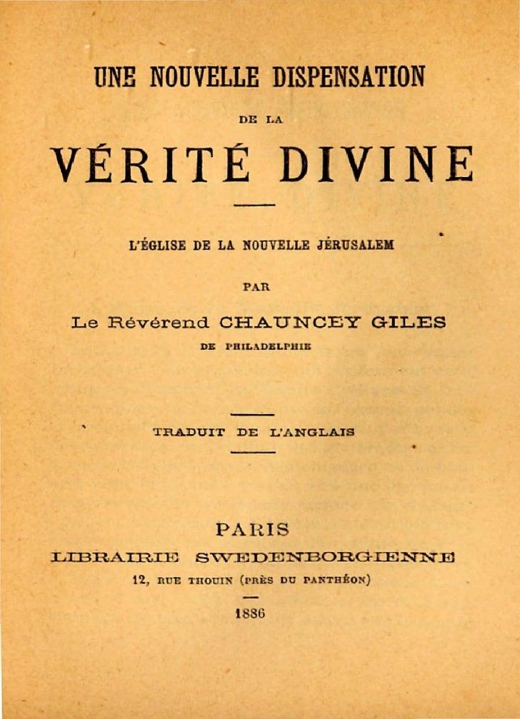 UN!: NOUVELLE DISPENSATION                                DE LA    VERITE DIVINE                                          ...