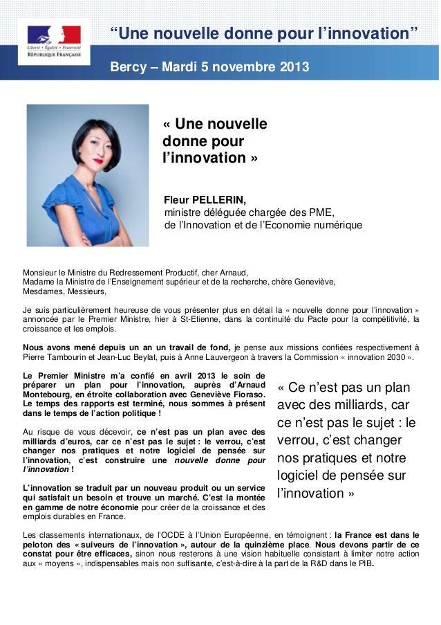 """""""Une nouvelle donne pour l'innovation"""" Bercy – Mardi 5 novembre 2013  « Une nouvelle donne pour l'innovation » Fleur PELLE..."""