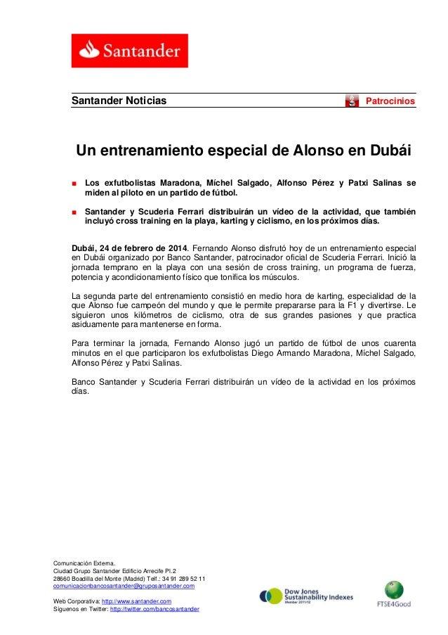 Santander Noticias  Patrocinios  Un entrenamiento especial de Alonso en Dubái ■  Los exfutbolistas Maradona, Míchel Salgad...
