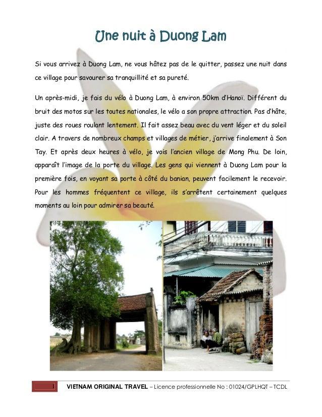 1 VIETNAM ORIGINAL TRAVEL – Licence professionnelle No : 01024/GPLHQT – TCDL Une nuit à Duong Lam Si vous arrivez à Duong ...