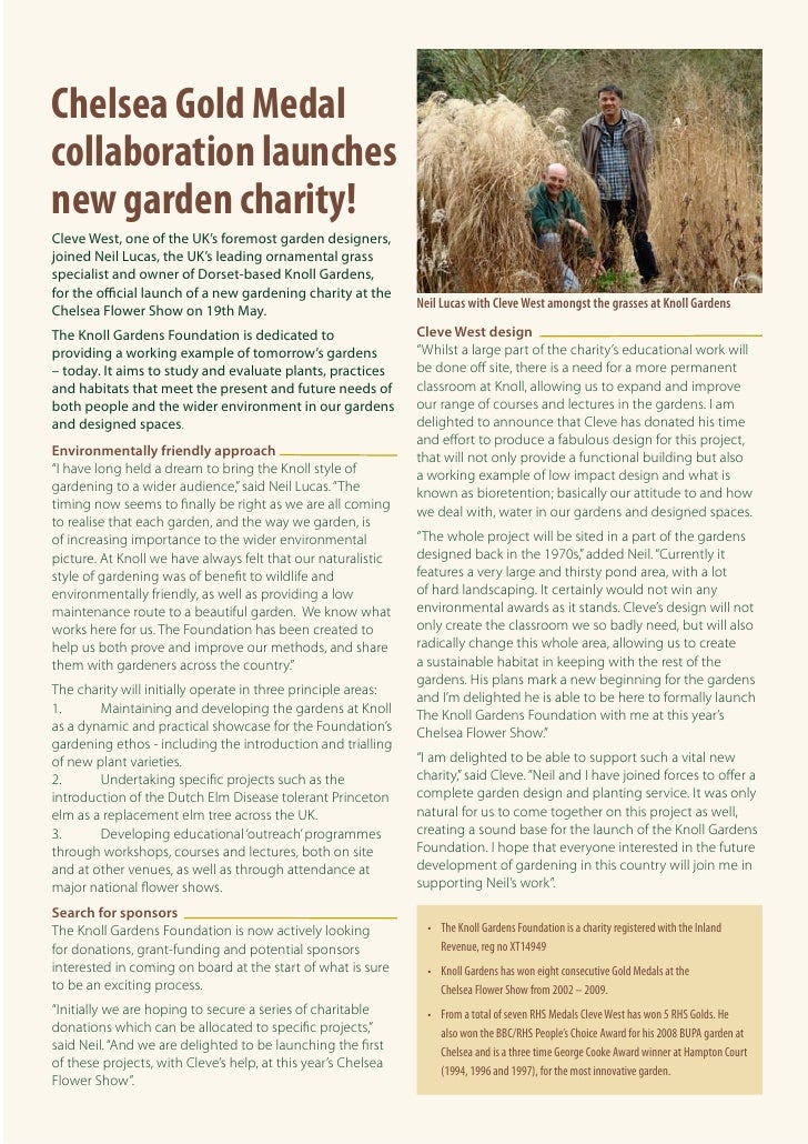 Chelsea Gold Medal collaboration launches new garden charity! Cleve West, one of the UK's foremost garden designers, joine...