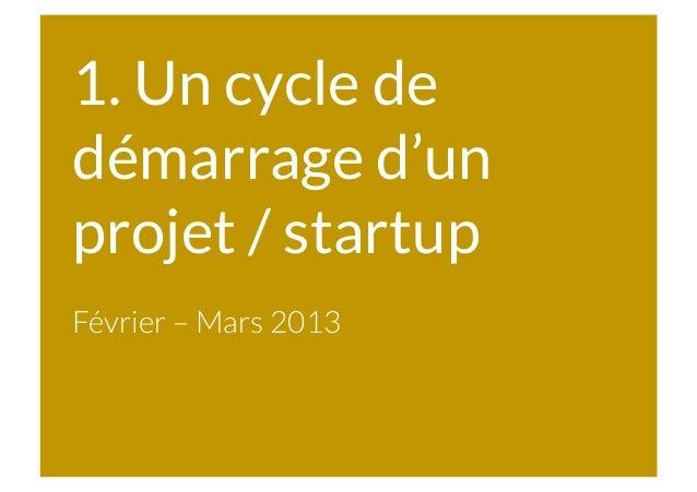 1. Un cycle de démarrage d'un projet / startup Février – Mars 2013