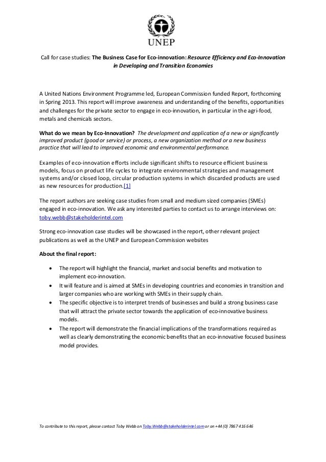 Call for case studies: The Business Case for Eco-innovation: Resource Efficiency and Eco-Innovation                       ...