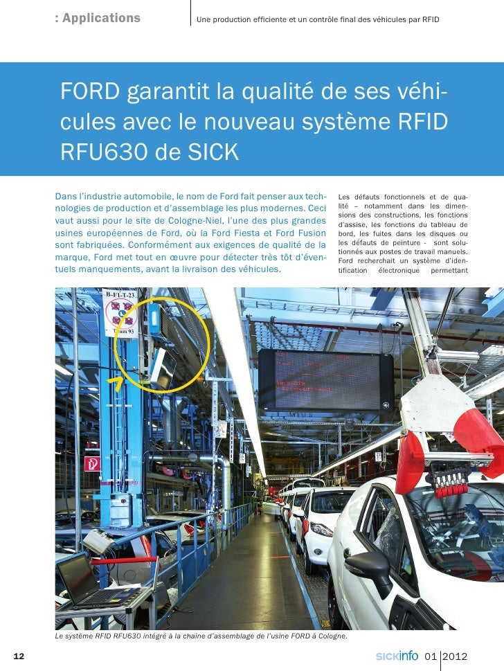 : Applications                         Une production efficiente et un contrôle final des véhicules par RFID      FORD gar...