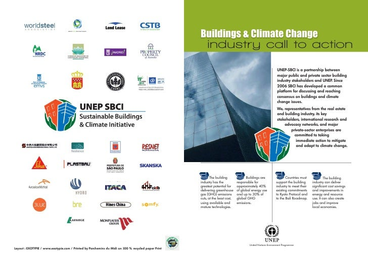 Buildings & Climate Change     industry call to action                                                          UNEP-SBCI ...