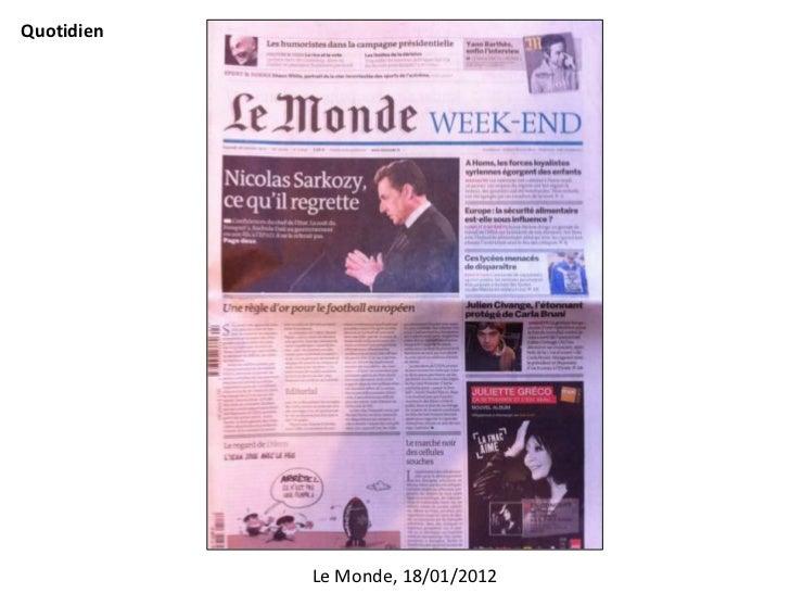 Quotidien            Le Monde, 18/01/2012