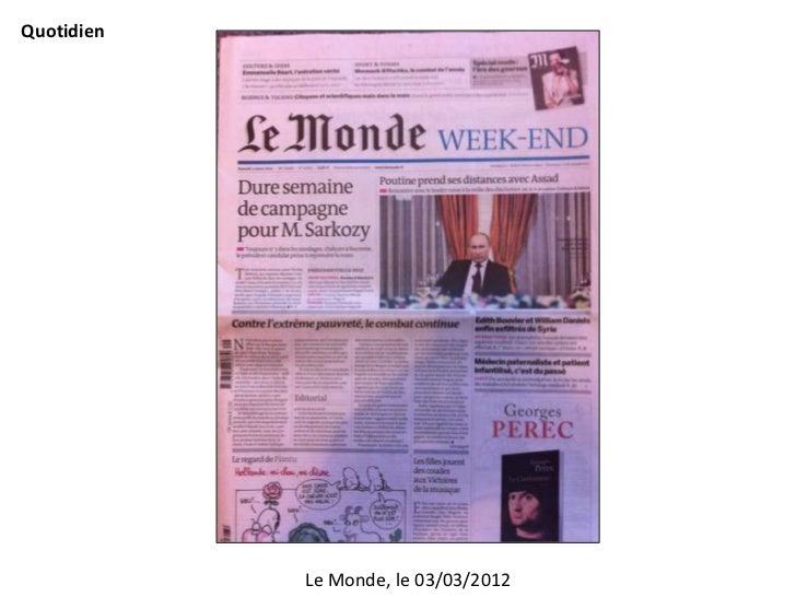 Quotidien            Le Monde, le 03/03/2012