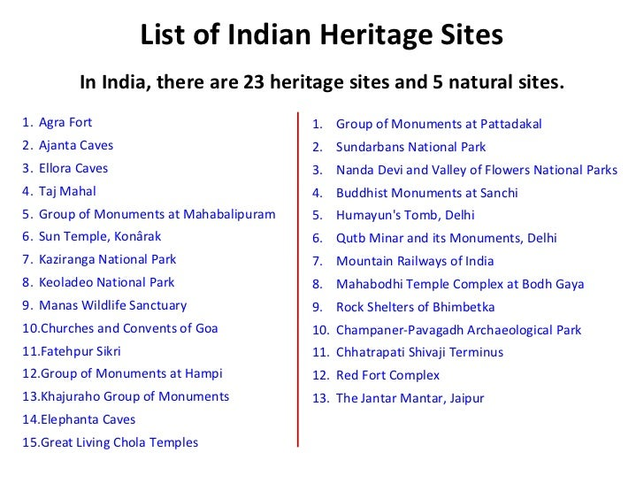 List of world heritage sites in