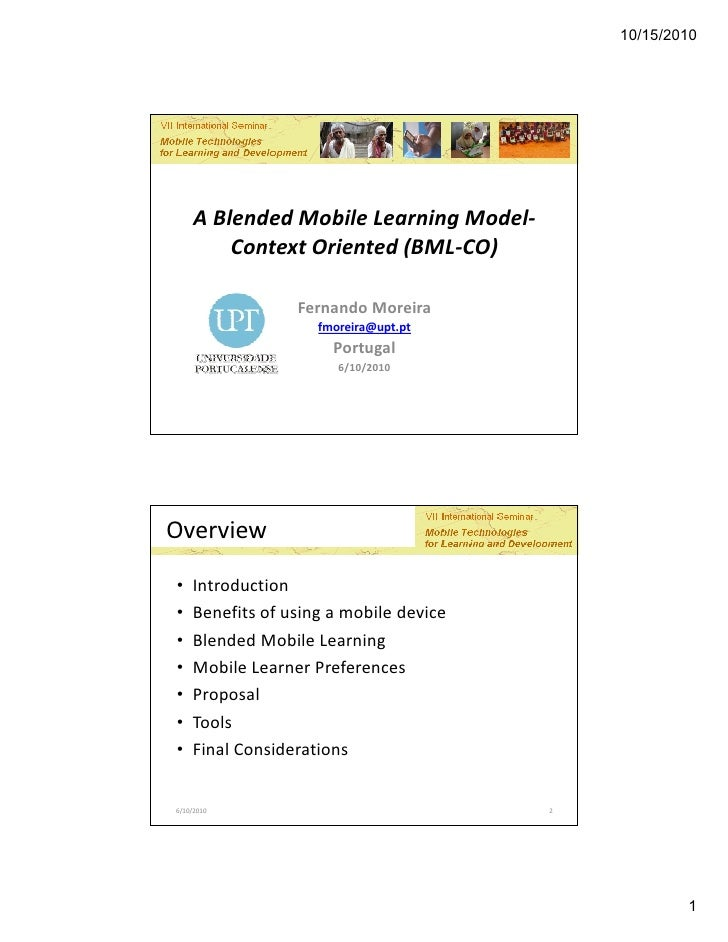 A Blended Mobile Learning Model-Context Oriented (By Fernando Moreira)